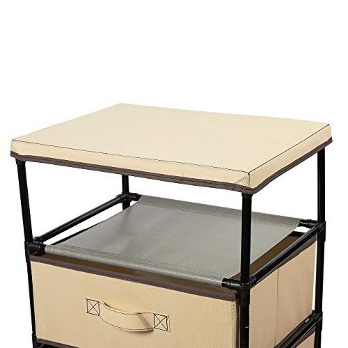 Juvale 4-Layered Cabinet Drawer for Clothing, Underwear, Documents, Household - Brown, 16.5 13 x 33 inches
