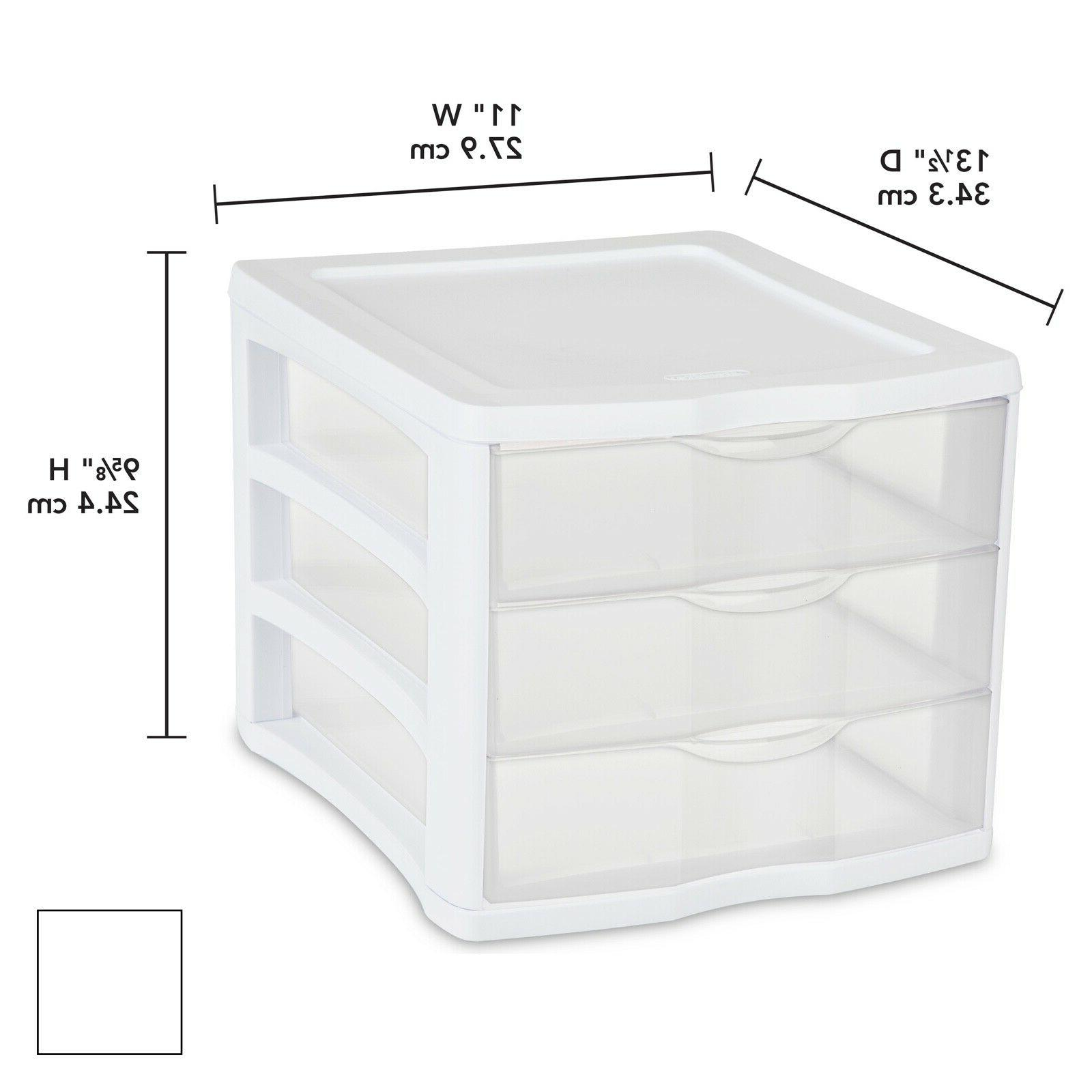 4-PACK Plastic Drawer Unit, White Frame, Drawers Small Storage Box