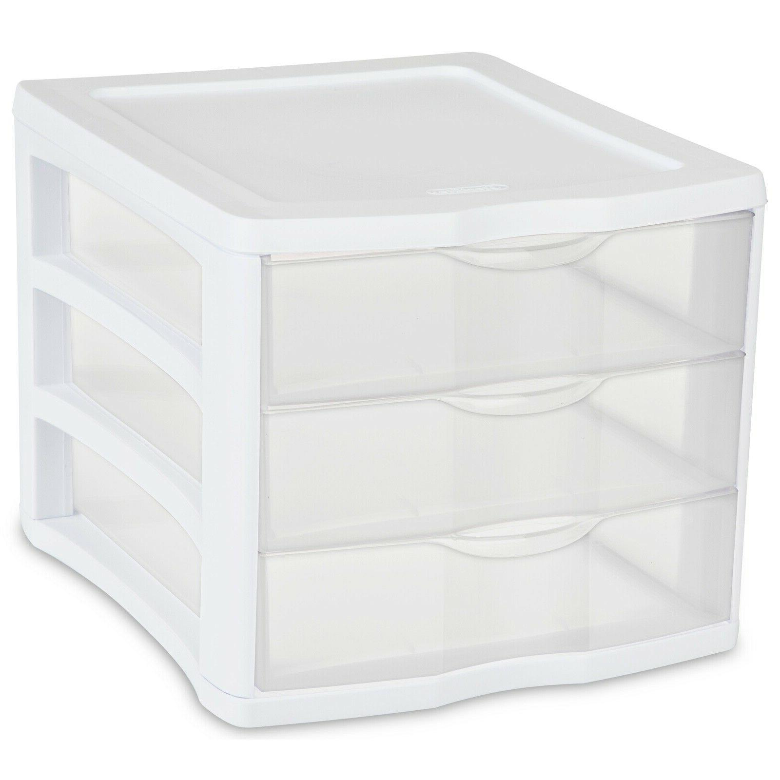 4-PACK Plastic Drawer Unit, Frame, Clear Drawers Small Storage Box