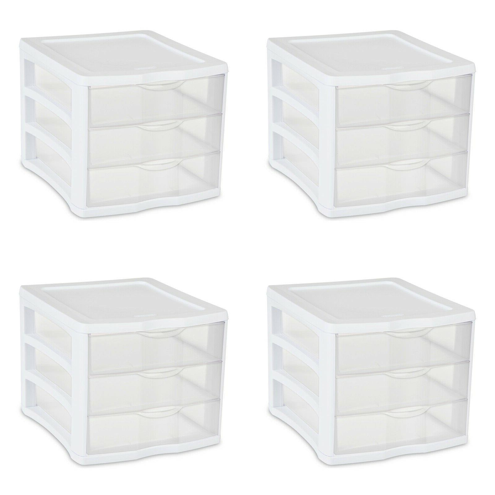 4 pack plastic 3 drawer unit white