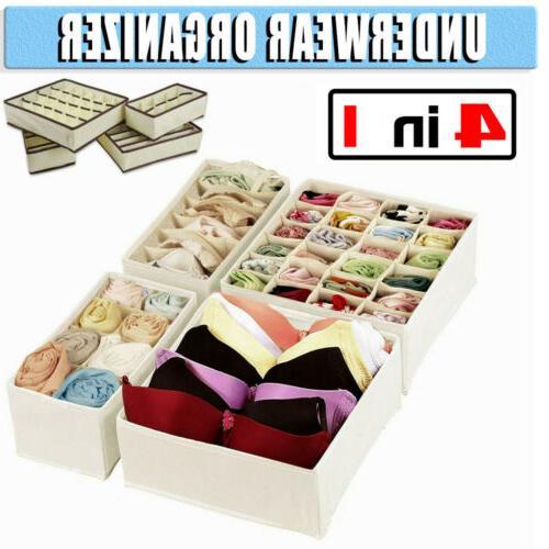 4 pack sock organizer storage box underwear