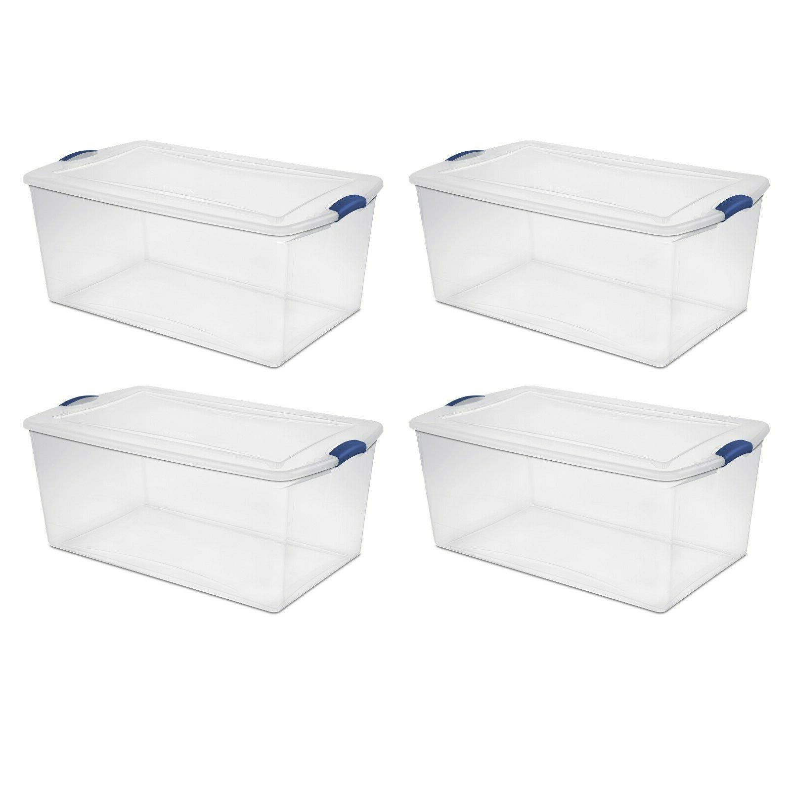 4 plastic storage totes large box bin