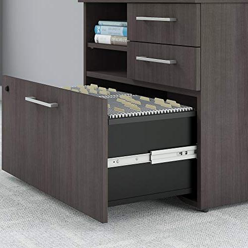 Bush Furniture 400 Series 30W Piler Filer Cabinet Storm