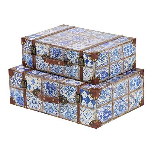 """Deco 79 41074 Leather Suitcase Boxes with Lids, 18"""" 15"""" Distressed Blue Finishes,"""