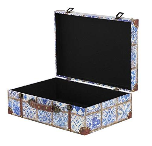 """Deco 41074 Rustic Leather Rectangular Suitcase Boxes 18"""" and 15"""" Finishes, 2"""