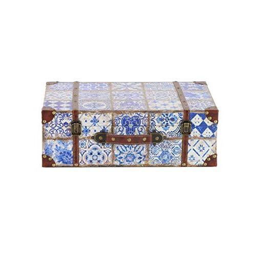 41074 rustic leather wood rectangular