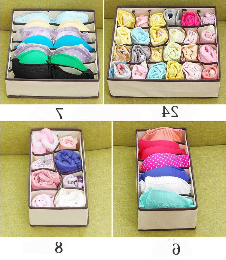 4PCS Foldable Organizer Storage Case Bra Ties Underwear US