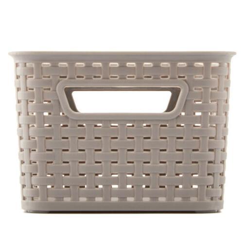 4pc Gray Knit Shelf Storage Container Organizer