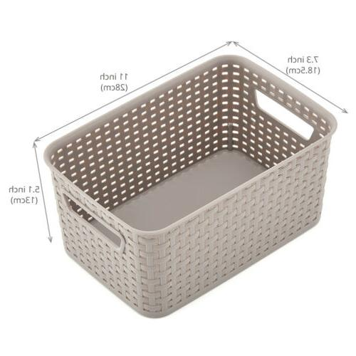 4pc Small Gray Knit Shelf Storage Container