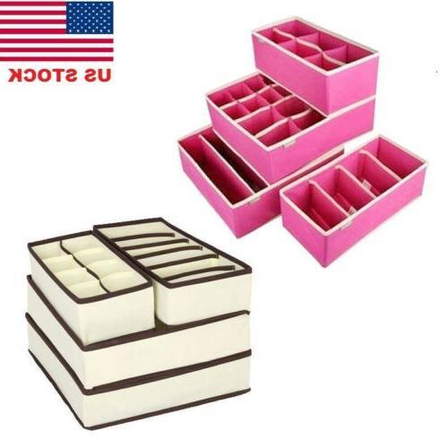4pcs foldable organizer drawer storage box case