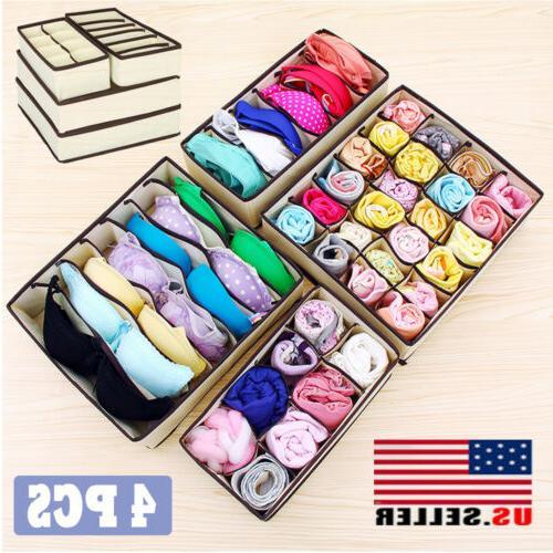 4pcs non woven fabric cloth organizer box