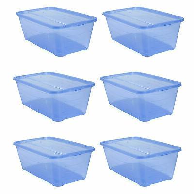 5 5 quart rectangular blue plastic storage