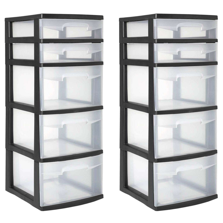 5 Drawer Organizer Home Cabinet Storage Black