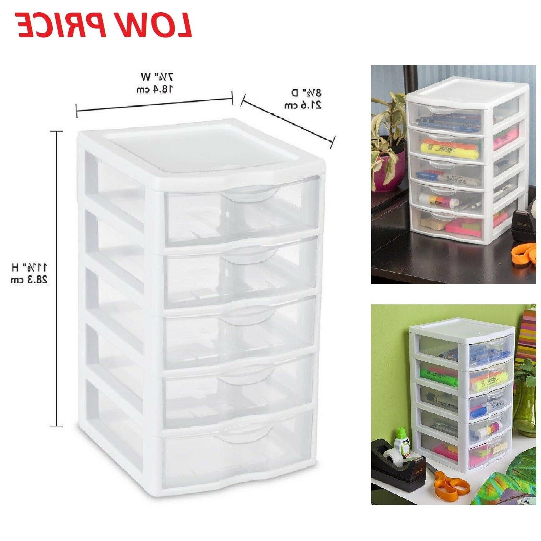 5 Drawer Tower Plastic Organizer Storage Office Cabinet Box