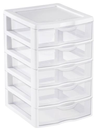 5 drawer tower plastic storage