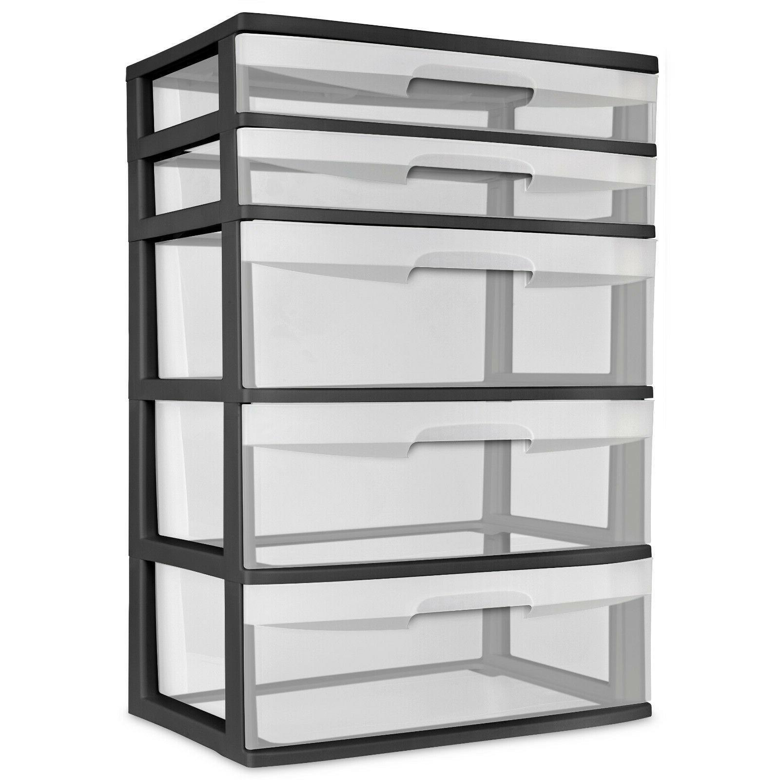 5 Drawer Wide Tower Storage Sterilite Organizer Cabinet Heav