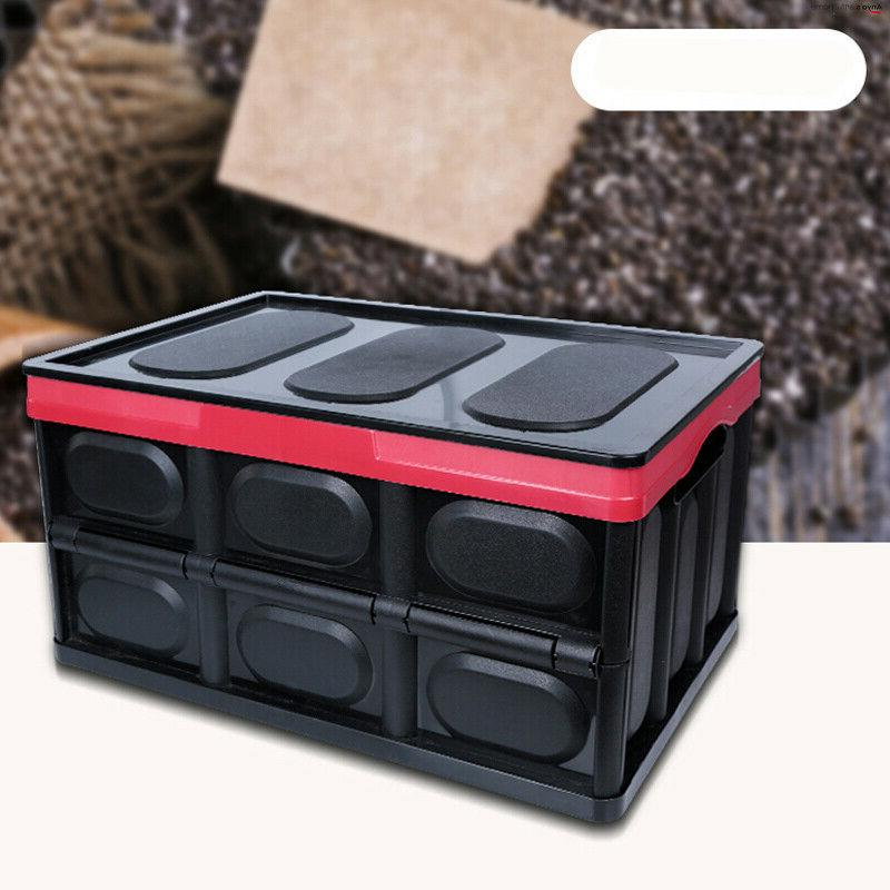 55L Collapsible Durable Stackable Crates w/Lid