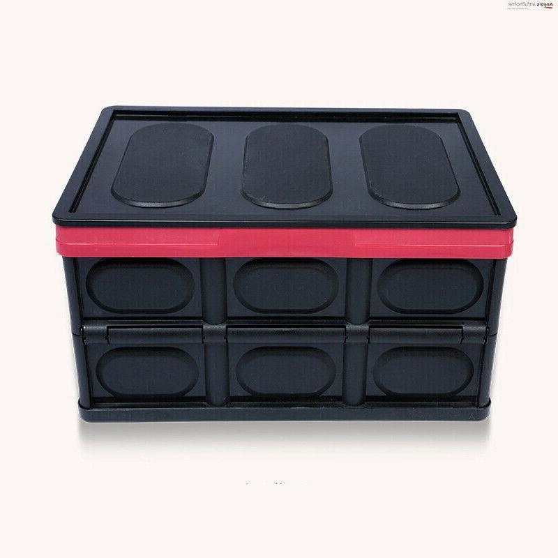 55L Collapsible Storage Durable Stackable Crates Black