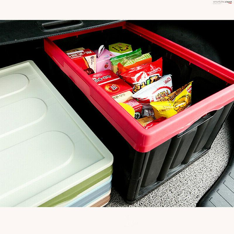 55L Storage Durable Folding Crates w/Lid