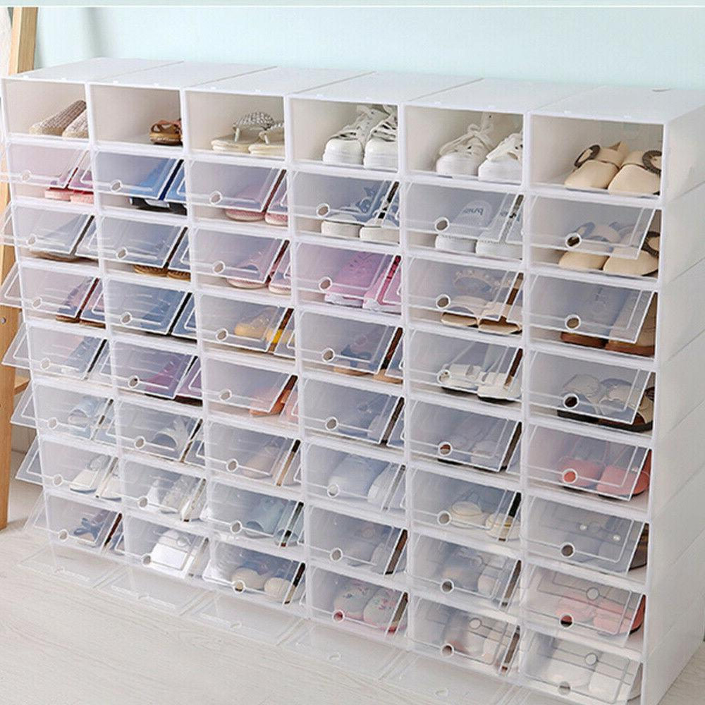 6/12/24X Foldable Shoe Box Storage Plastic Case Stackable Organizer