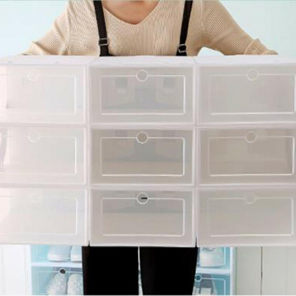 6/12/24X Foldable Shoe Storage Plastic Transparent Case Stackable Organizer