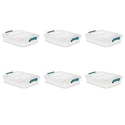Sterilite 6.2 Qt. Modular Latch Box Clear Case of 6 Containe