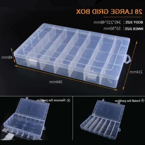 6-36 Grid Plastic Compartment Jewelry Bead Organizer Case