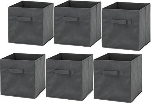 6 Pack Foldable Bin, Dark Grey