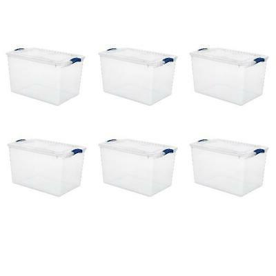 6 pack 66 qt large clear plastic