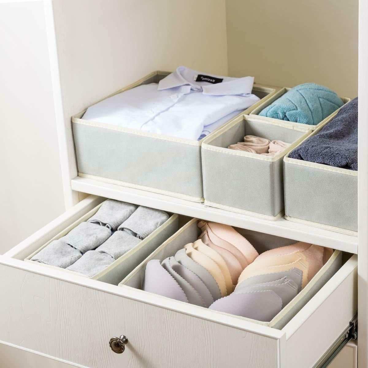 6 Foldable Cloth Storage Box Drawer Fabric
