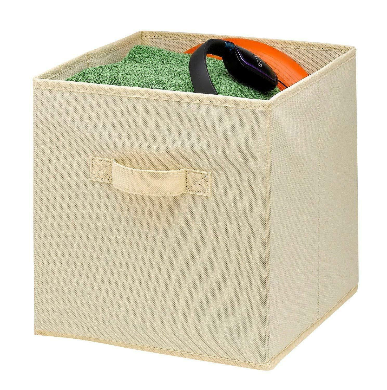 6 Foldable Cubes Collapsible Fabric Bins Shelf Organizer