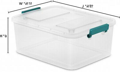 6 PACK Large Latch Storage Box 12.7 Sterilite Container Clear