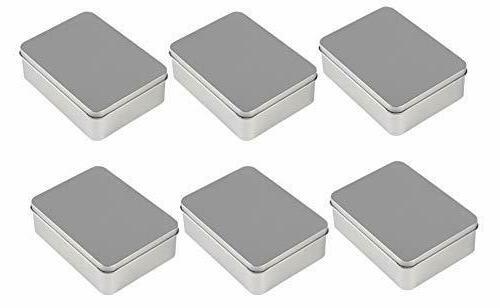 6 pack rectangular tin box with lid