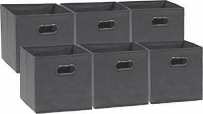 6 Pack - SimpleHouseware Foldable Cube Storage Bin with Hand