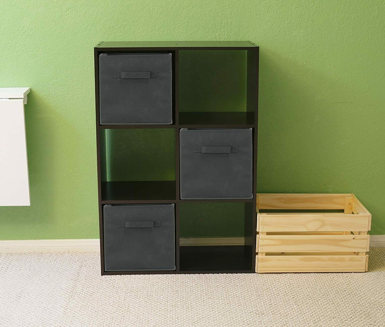 6 Pack SimpleHouseware Foldable Cube Storage Dark