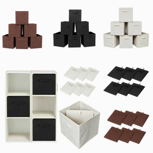 6X/Pack Storage Bins Organizer Cube Boxes Shelf Basket Drawe
