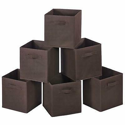 6 pcs brown home storage bins organizer