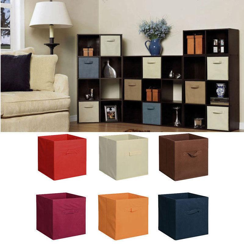 6 Fabric Storage Box Organizer Cube Basket Drawer Container