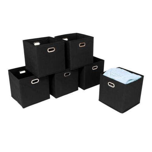 6Pcs Foldable Storage Boxes Lid Collapsible Home Clothes Org