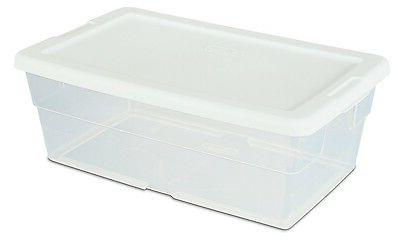 6 quart Sterilite Storage Box w/ white Lid Container Plastic