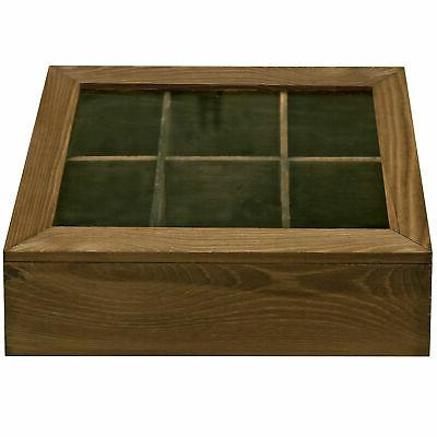 6 Slot Natural Tea Bag Display Chest Clear Glass Lid