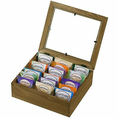 6 slot natural wooden tea bag box
