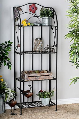 Deco & Outdoor Metal with Flowers, Shelf, with 4 Shelves, Metal Shelving | x