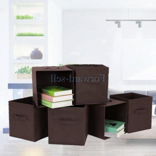 6Pcs Fabric Basket Bin Container Cube Shelf Brown