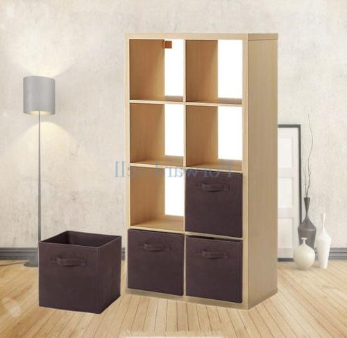 6Pcs Basket Bin Container Cube Shelf Brown USA