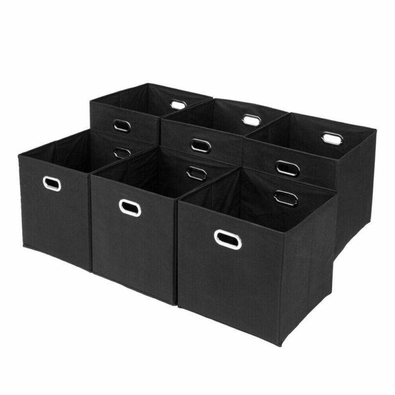 6PCS Foldable Storage Bins Box Handle 6 15-20lbs