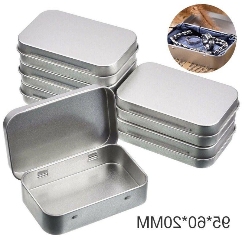 6pcs metal storage box empty hinged tins