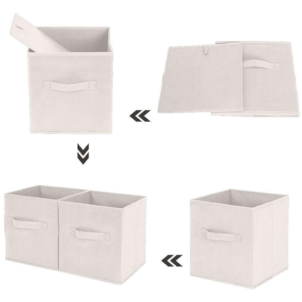 6X Handle Cloth Storage Fabric Storage Box Shelf