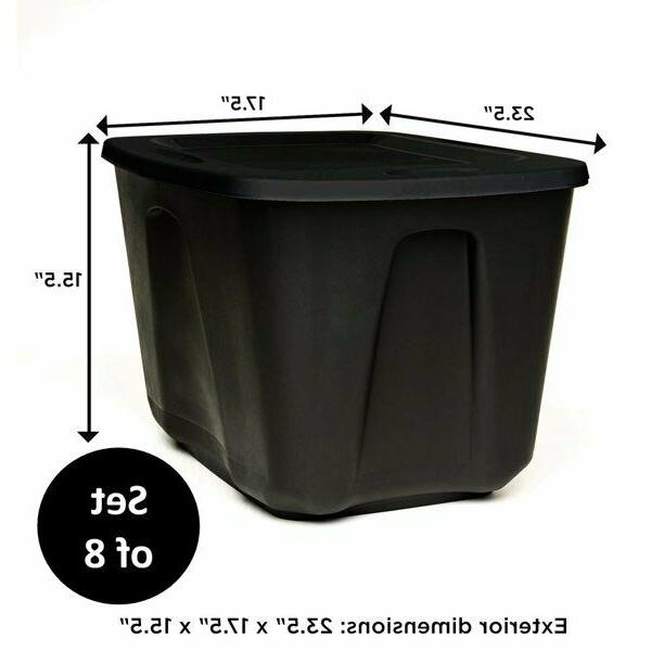 8 PLASTIC STORAGE CONTAINER BOX Stackable Organizer Bin Cont