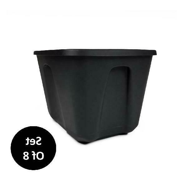 8 Tote Box 18 Stackable Bin Plastic Lid Black